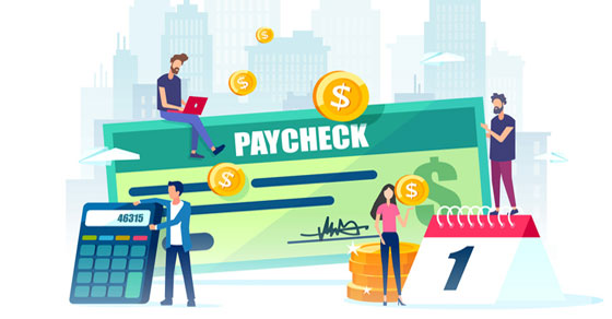 Graphic with paycheck, people, calculator and calendar